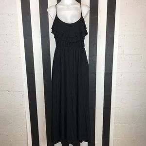 5 for $25 Forever 21 Black Ruffle Front Maxi Dress